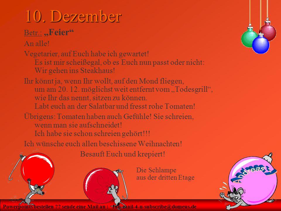 "10. Dezember Betr.: ""Feier An alle!"