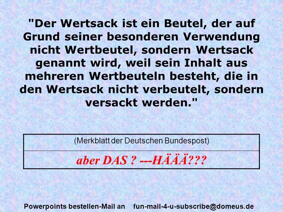(Merkblatt der Deutschen Bundespost)