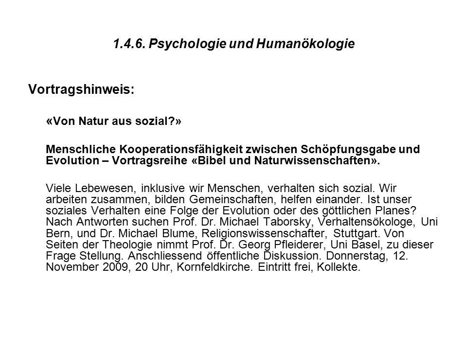 1.4.6. Psychologie und Humanökologie