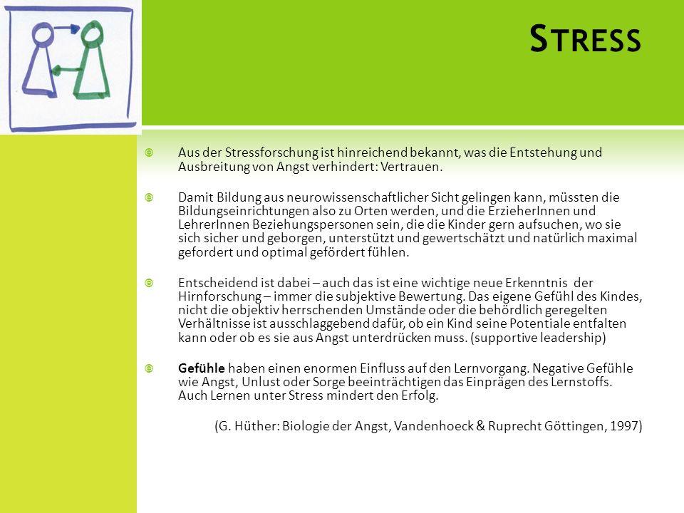 Stress Aus der Stressforschung ist hinreichend bekannt, was die Entstehung und Ausbreitung von Angst verhindert: Vertrauen.