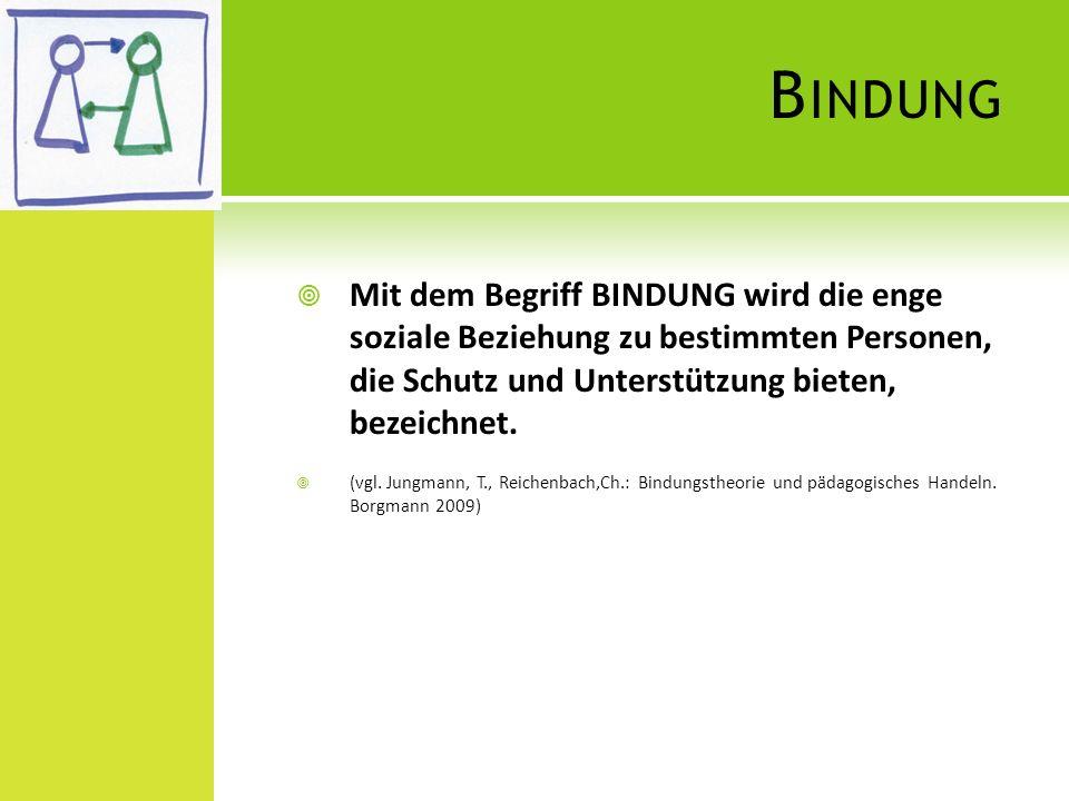Bindung Mit dem Begriff BINDUNG wird die enge soziale Beziehung zu bestimmten Personen, die Schutz und Unterstützung bieten, bezeichnet.