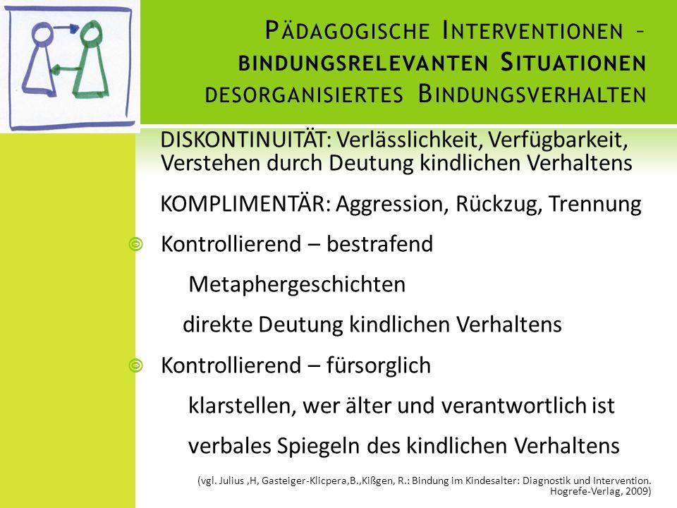 Pädagogische Interventionen – bindungsrelevanten Situationen desorganisiertes Bindungsverhalten