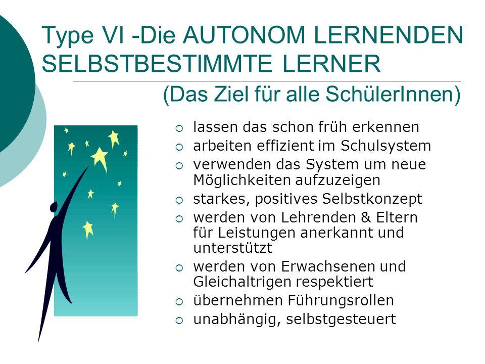 Type VI -Die AUTONOM LERNENDEN SELBSTBESTIMMTE LERNER (Das Ziel für alle SchülerInnen)