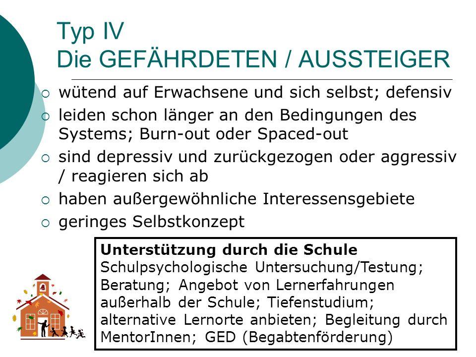 Typ IV Die GEFÄHRDETEN / AUSSTEIGER