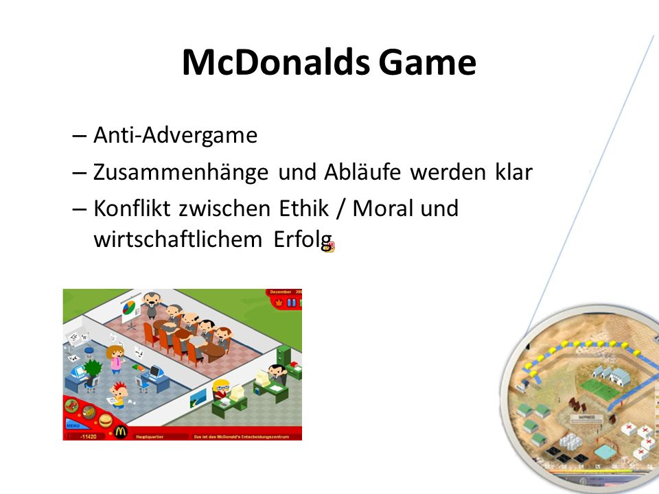 McDonalds Game Anti-Advergame Zusammenhänge und Abläufe werden klar