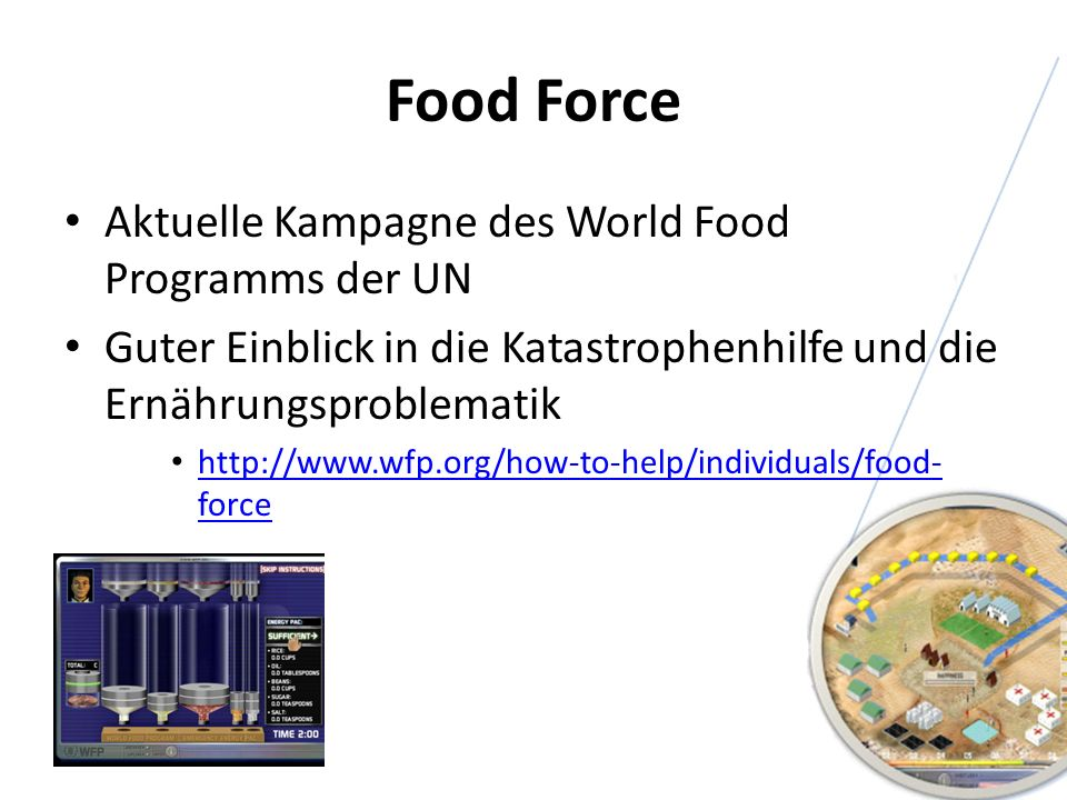 Food Force Aktuelle Kampagne des World Food Programms der UN