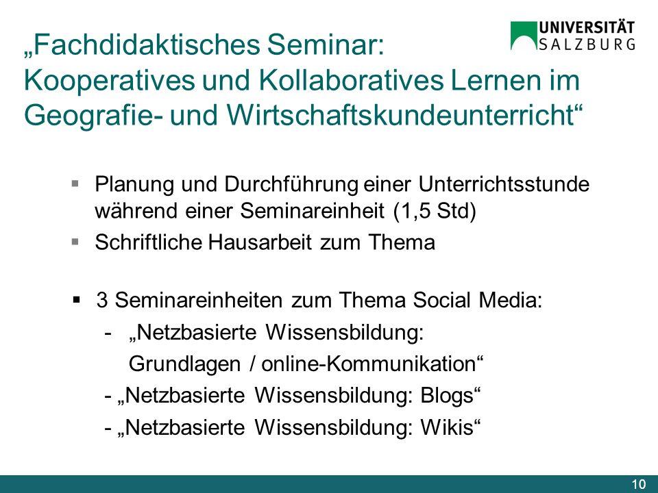 """""""Fachdidaktisches Seminar: Kooperatives und Kollaboratives Lernen im Geografie- und Wirtschaftskundeunterricht"""