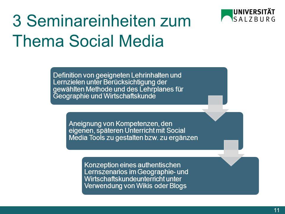 3 Seminareinheiten zum Thema Social Media