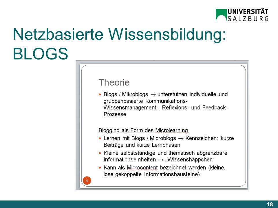 Netzbasierte Wissensbildung: BLOGS