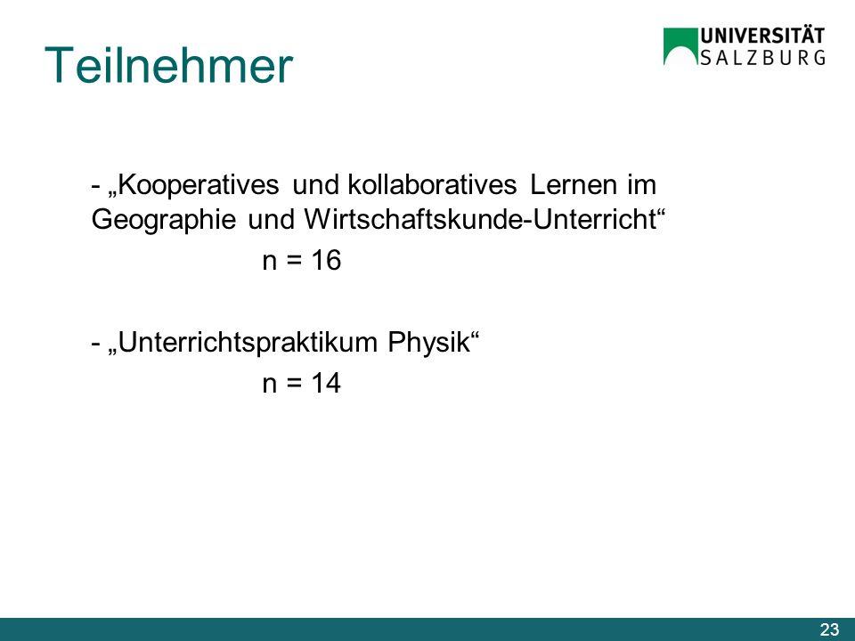 """Teilnehmer - """"Kooperatives und kollaboratives Lernen im Geographie und Wirtschaftskunde-Unterricht n = 16 - """"Unterrichtspraktikum Physik n = 14"""