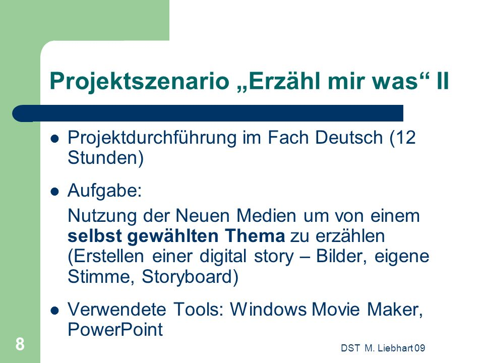 "Projektszenario ""Erzähl mir was II"
