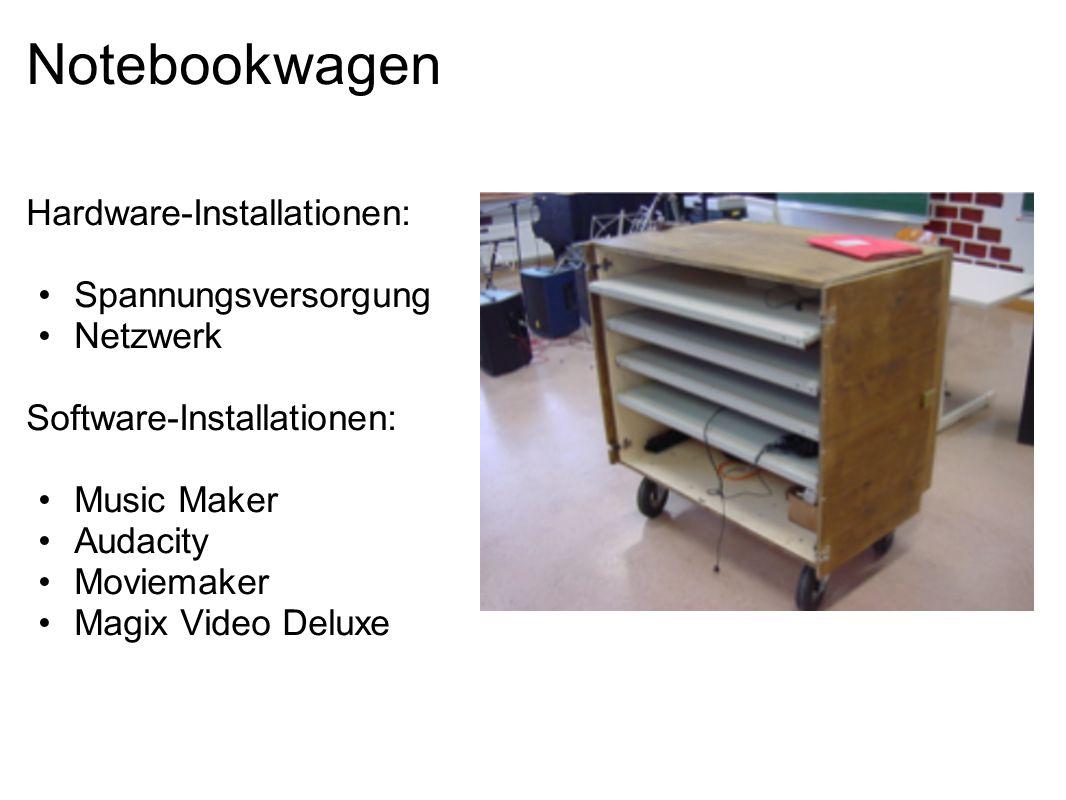 Notebookwagen Hardware-Installationen: Spannungsversorgung Netzwerk