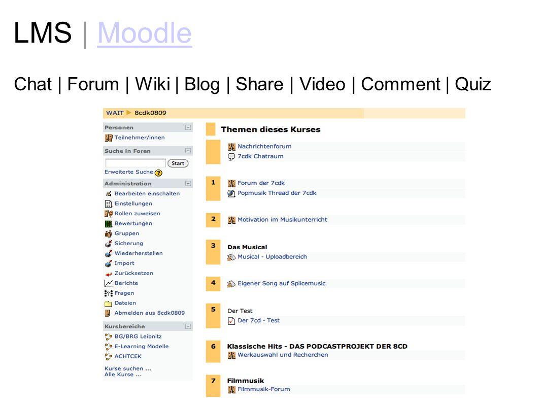 LMS | Moodle Chat | Forum | Wiki | Blog | Share | Video | Comment | Quiz