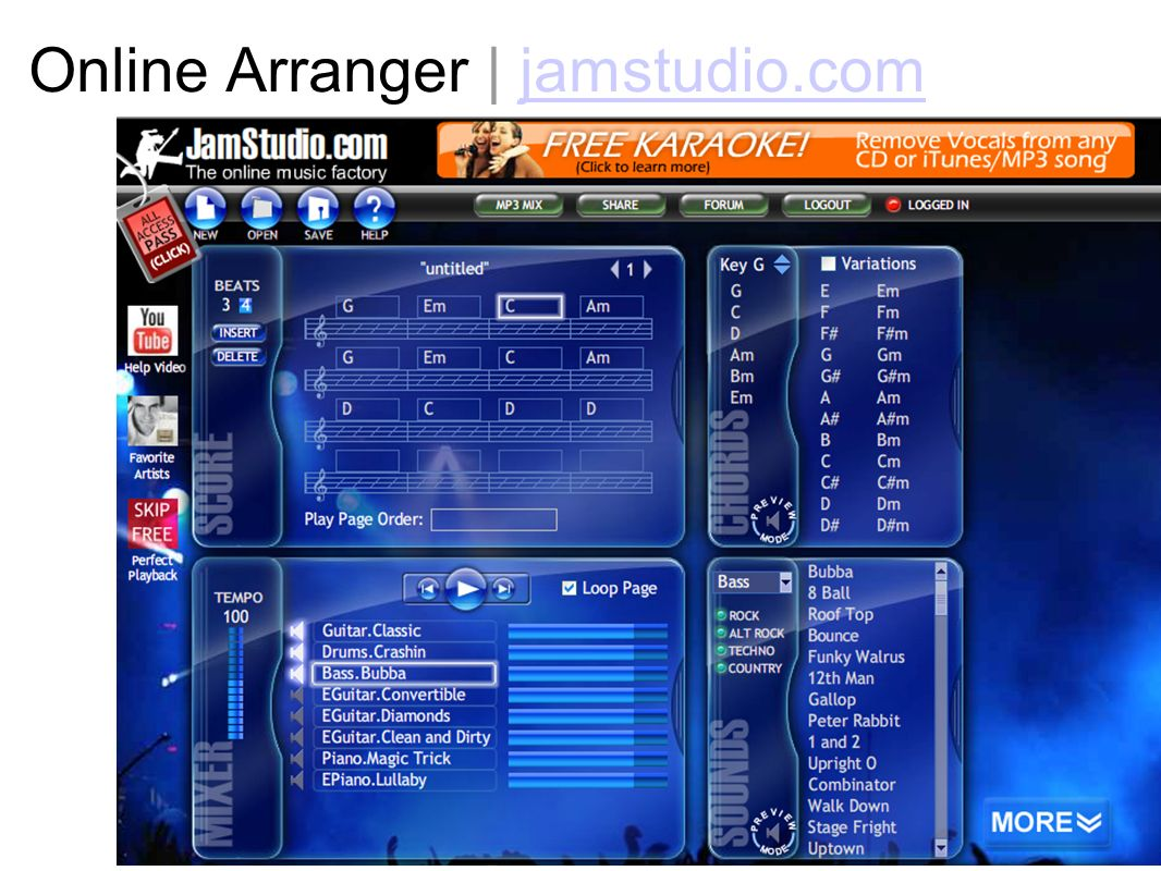 Online Arranger | jamstudio.com