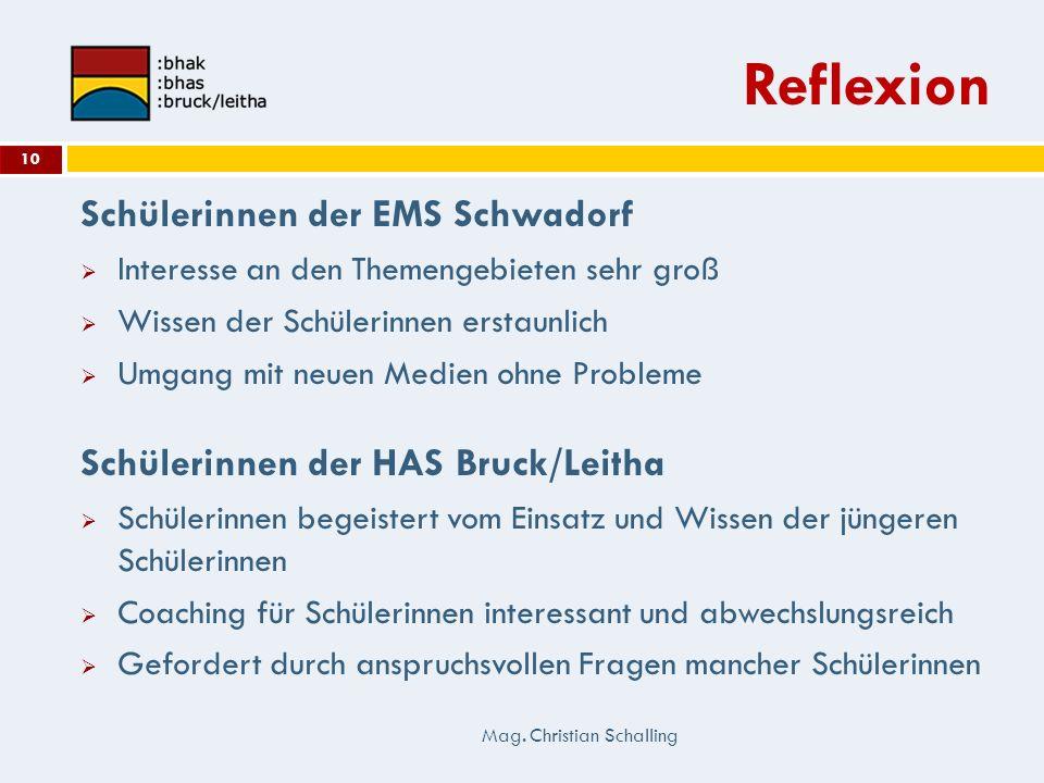 Reflexion Schülerinnen der EMS Schwadorf