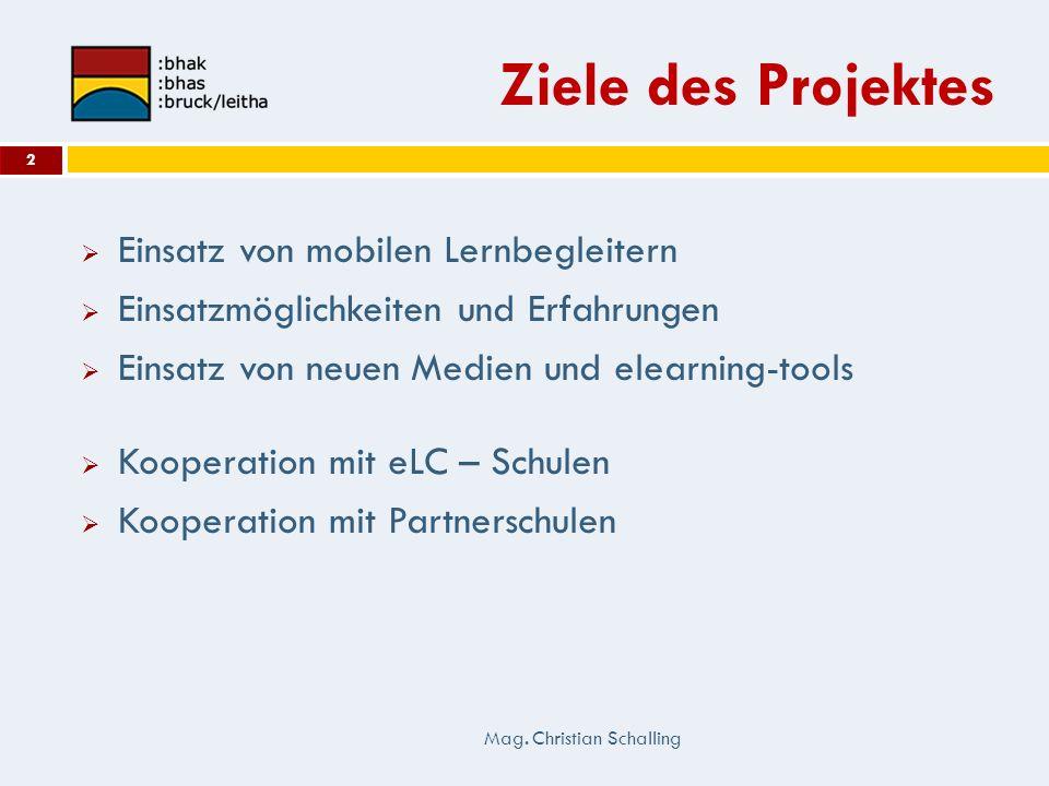 Ziele des Projektes Einsatz von mobilen Lernbegleitern