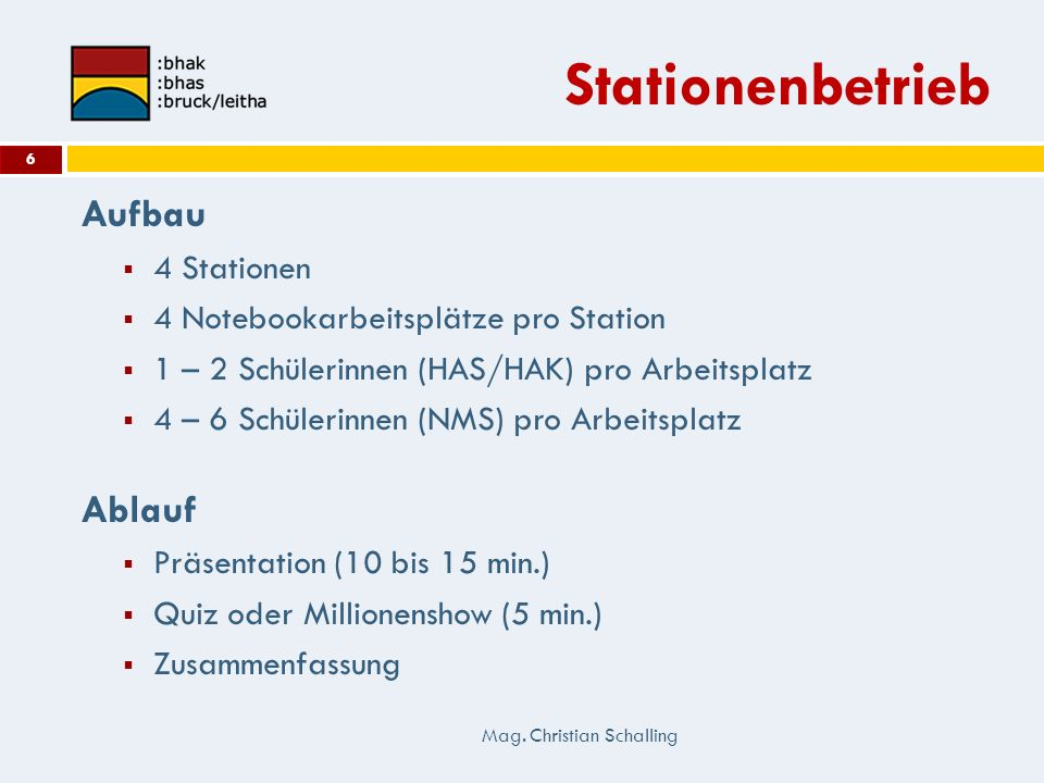 Stationenbetrieb Aufbau Ablauf 4 Stationen