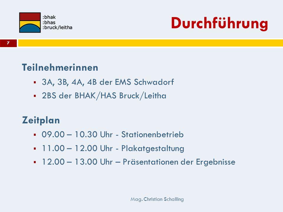 Durchführung Teilnehmerinnen Zeitplan 3A, 3B, 4A, 4B der EMS Schwadorf