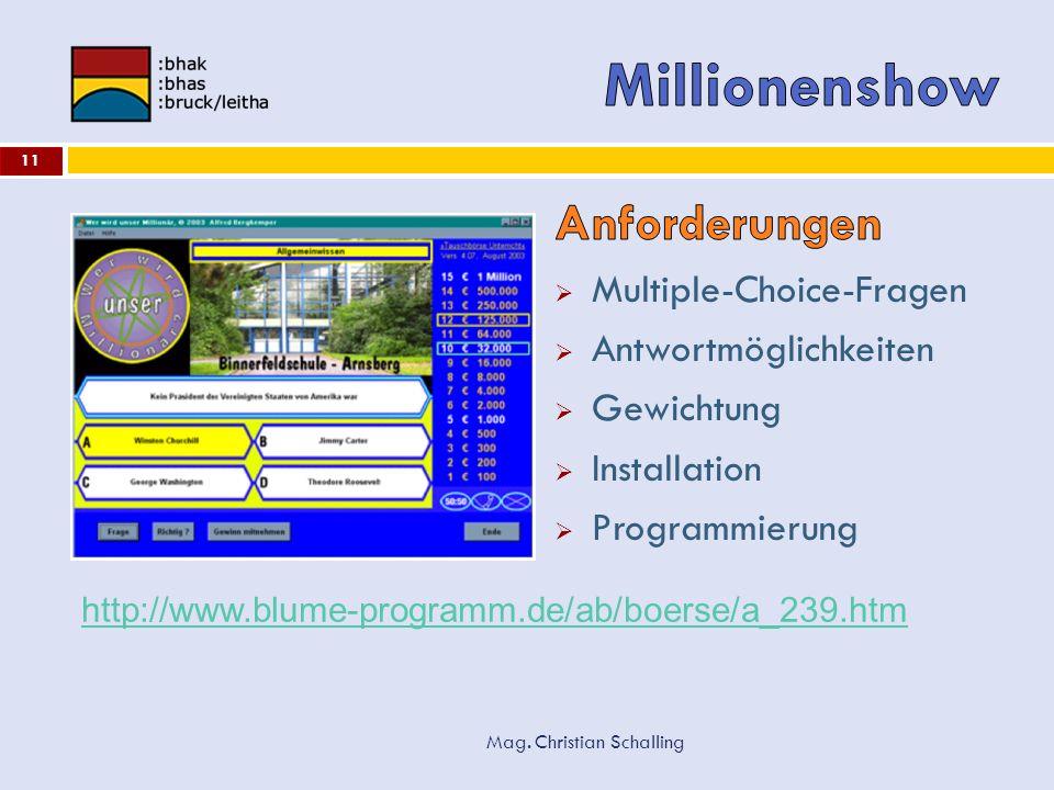 Millionenshow Anforderungen Multiple-Choice-Fragen