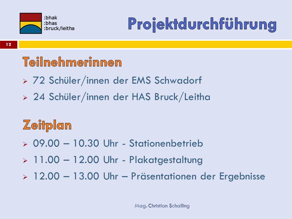 Projektdurchführung Teilnehmerinnen Zeitplan