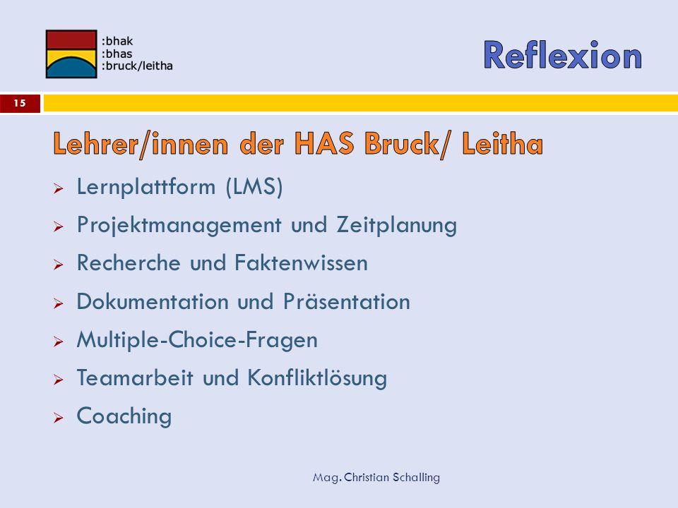 Reflexion Lehrer/innen der HAS Bruck/ Leitha Lernplattform (LMS)