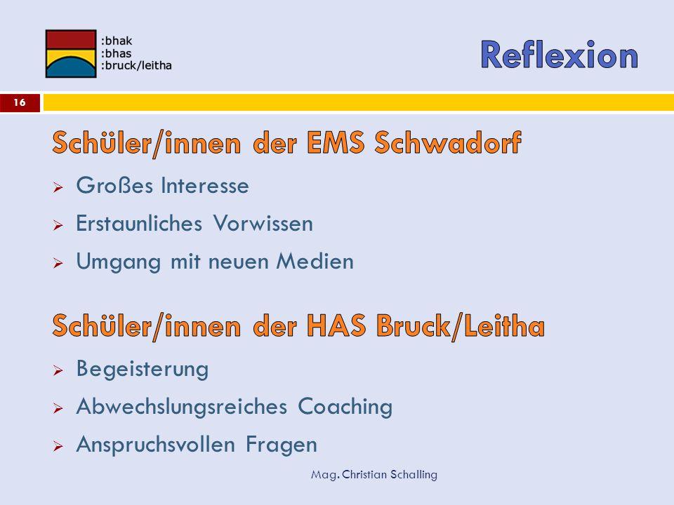 Reflexion Schüler/innen der EMS Schwadorf