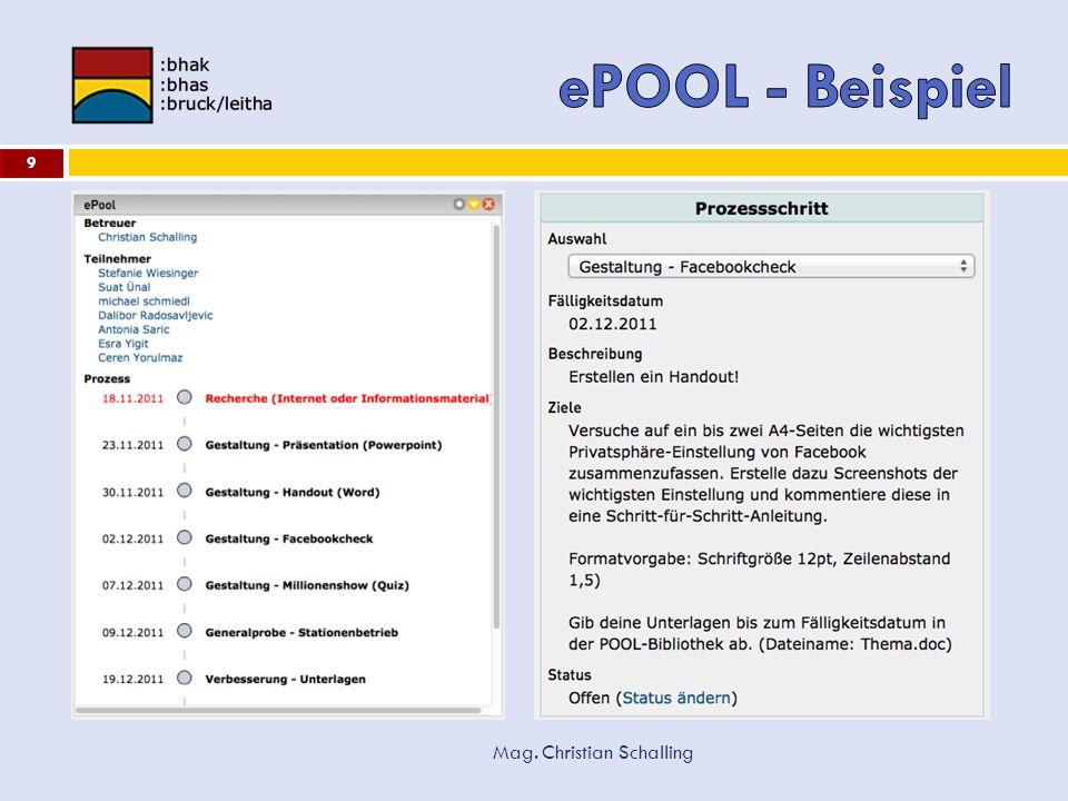 ePOOL - Beispiel Mag. Christian Schalling