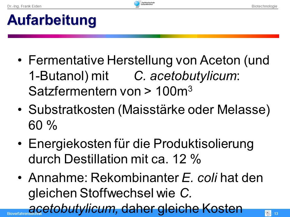 Aufarbeitung Fermentative Herstellung von Aceton (und 1-Butanol) mit C. acetobutylicum: Satzfermentern von > 100m3.