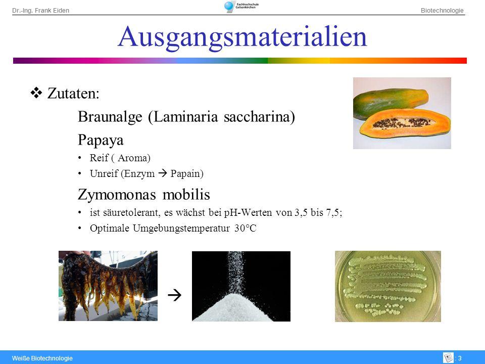 Ausgangsmaterialien Zutaten: Braunalge (Laminaria saccharina) Papaya