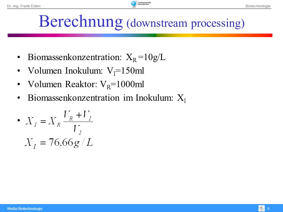 Berechnung (downstream processing)