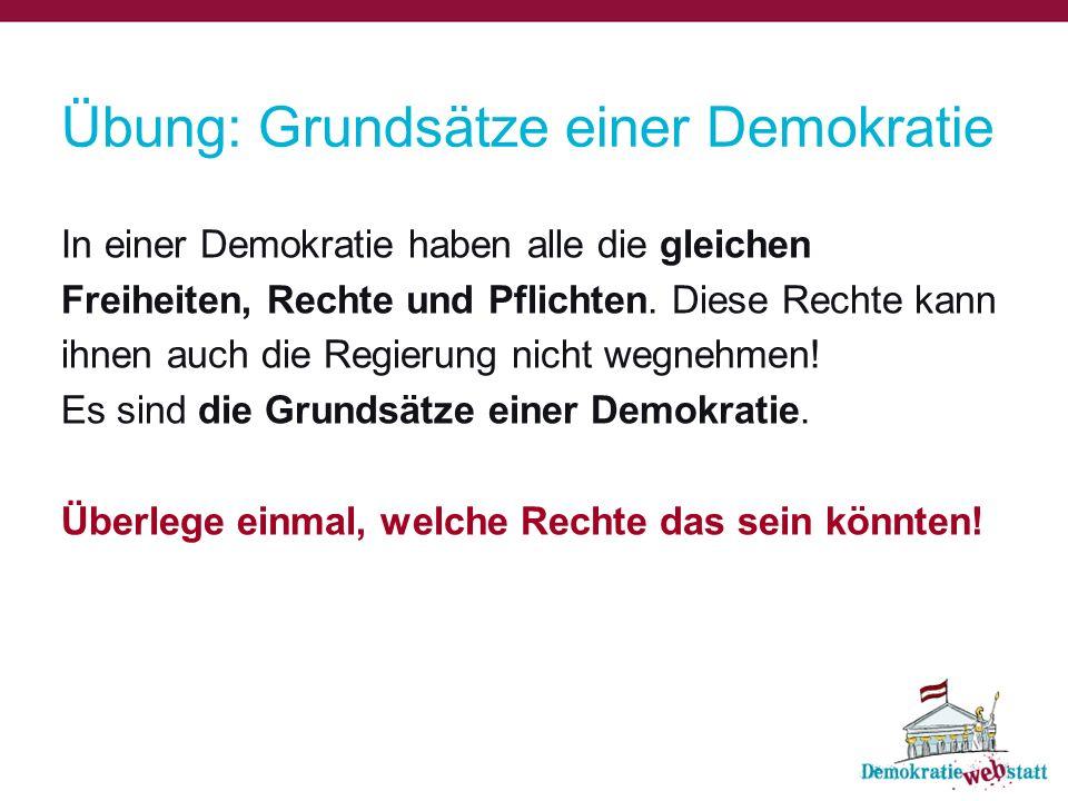 Übung: Grundsätze einer Demokratie