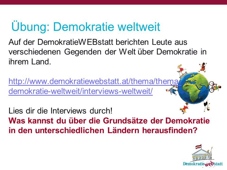 Übung: Demokratie weltweit
