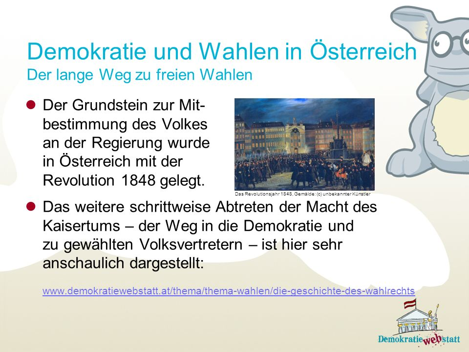 Demokratie und Wahlen in Österreich Der lange Weg zu freien Wahlen