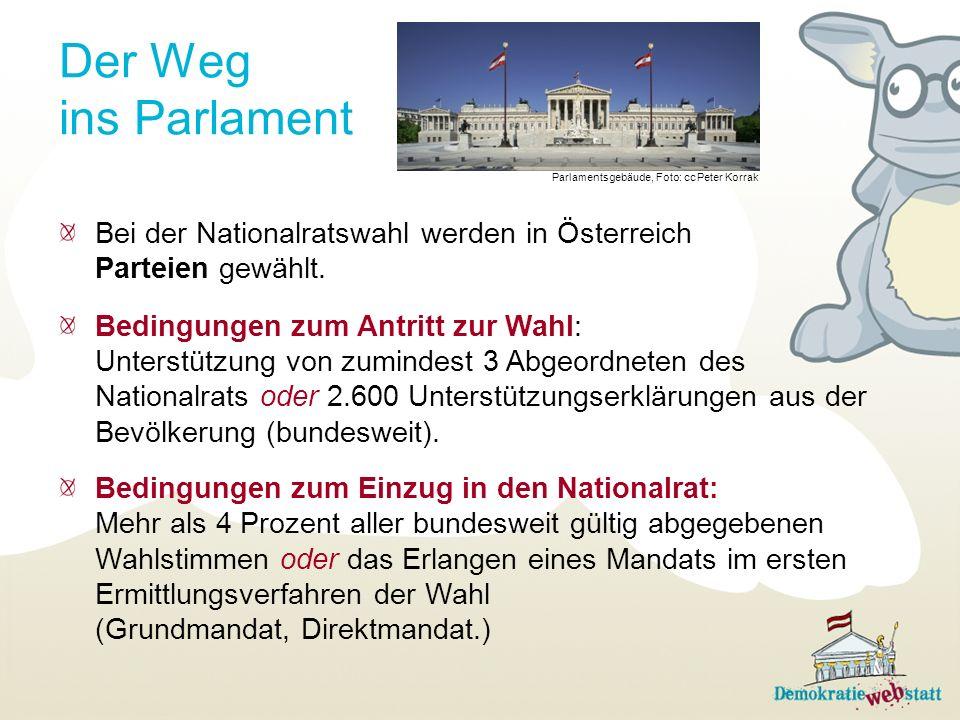 Der Weg ins Parlament Parlamentsgebäude, Foto: cc Peter Korrak. Bei der Nationalratswahl werden in Österreich Parteien gewählt.