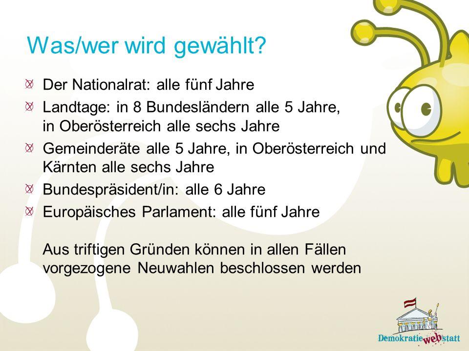 Was/wer wird gewählt Der Nationalrat: alle fünf Jahre
