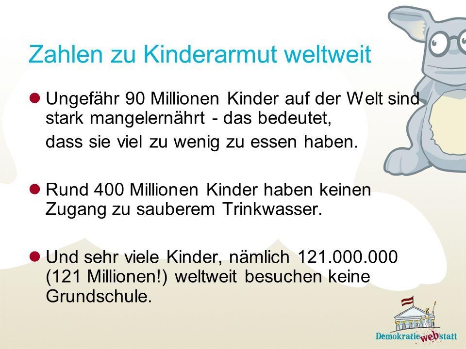 Zahlen zu Kinderarmut weltweit