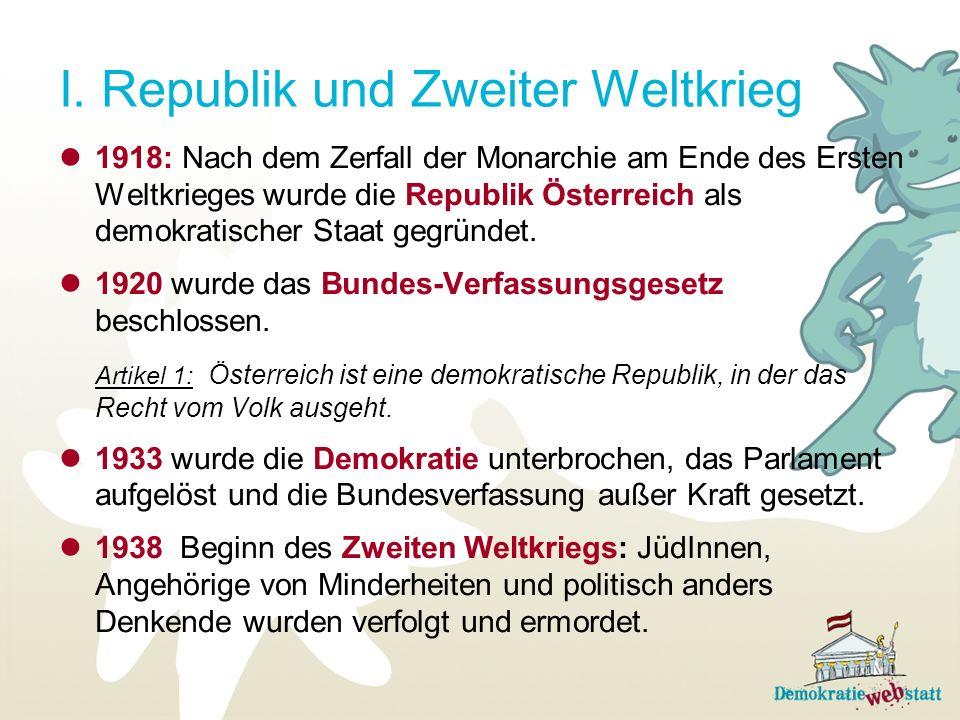 I. Republik und Zweiter Weltkrieg