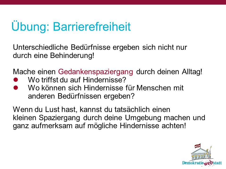 Übung: Barrierefreiheit