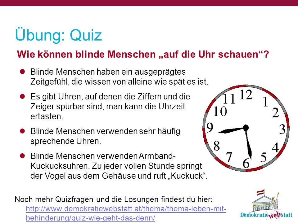 """Übung: Quiz Wie können blinde Menschen """"auf die Uhr schauen"""