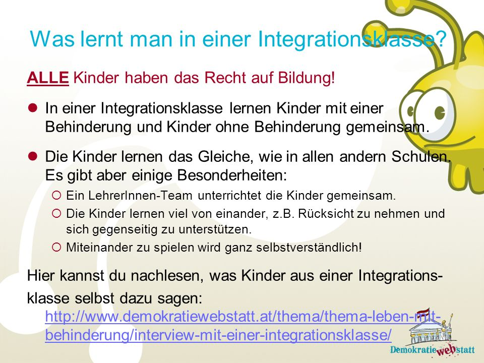 Was lernt man in einer Integrationsklasse