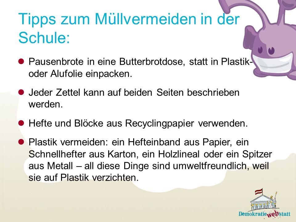 Tipps zum Müllvermeiden in der Schule: