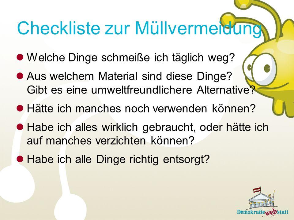 Checkliste zur Müllvermeidung