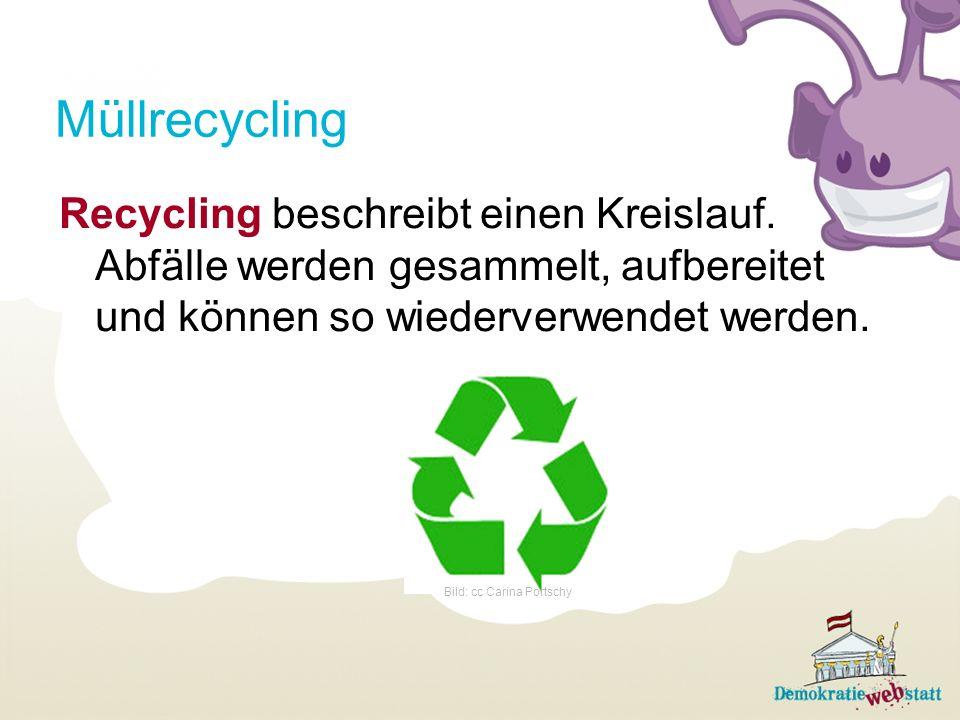 Müllrecycling Recycling beschreibt einen Kreislauf. Abfälle werden gesammelt, aufbereitet und können so wiederverwendet werden.