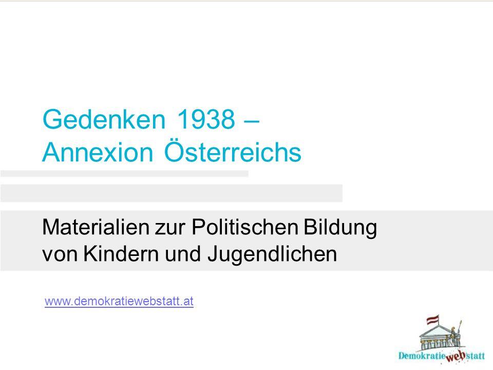 Gedenken 1938 – Annexion Österreichs