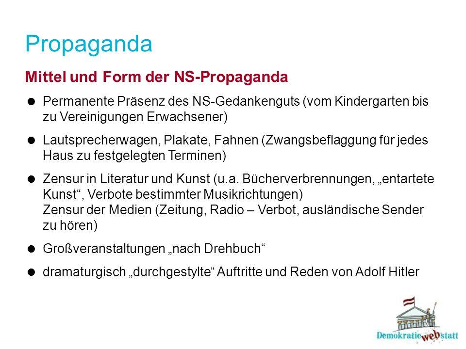 Propaganda Mittel und Form der NS-Propaganda