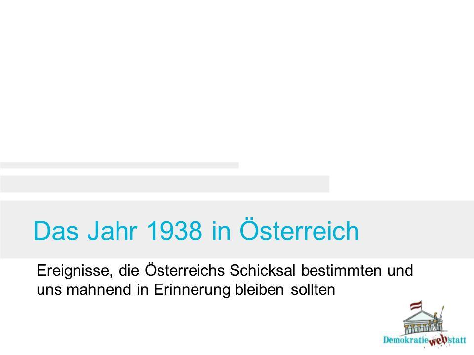 Das Jahr 1938 in Österreich Ereignisse, die Österreichs Schicksal bestimmten und uns mahnend in Erinnerung bleiben sollten.