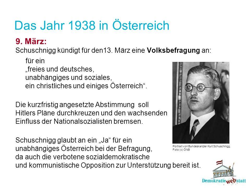 Das Jahr 1938 in Österreich9. März: Schuschnigg kündigt für den13. März eine Volksbefragung an: