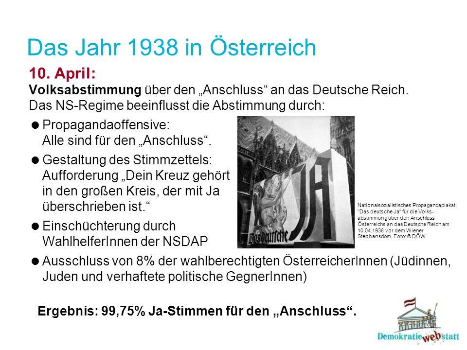 """Das Jahr 1938 in Österreich10. April: Volksabstimmung über den """"Anschluss an das Deutsche Reich. Das NS-Regime beeinflusst die Abstimmung durch:"""