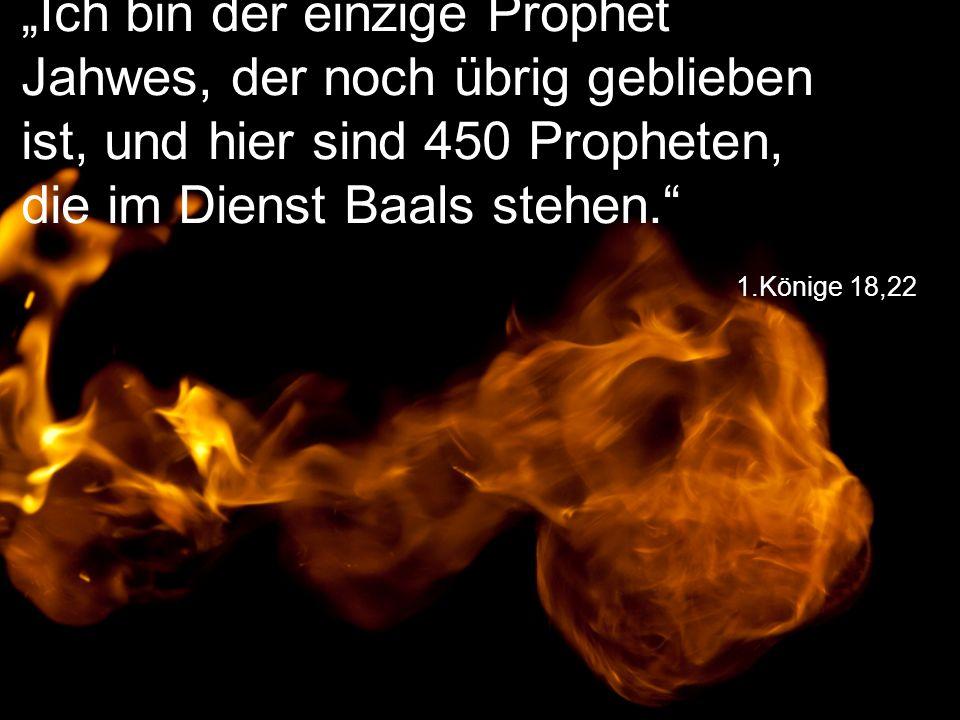 """""""Ich bin der einzige Prophet Jahwes, der noch übrig geblieben ist, und hier sind 450 Propheten, die im Dienst Baals stehen."""