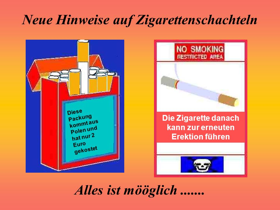 Die Zigarette danach kann zur erneuten Erektion führen